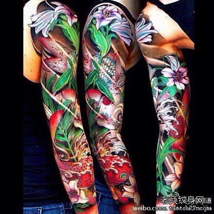 鲤鱼牡丹花纹身手稿