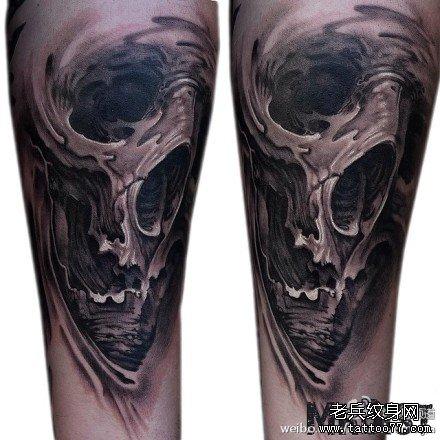腿部欧美彩色骷髅玫瑰花纹身图案