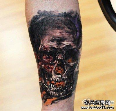 腿部欧美骷髅纹身图案的寓意图片