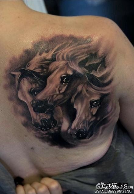 后背三头马纹身图案