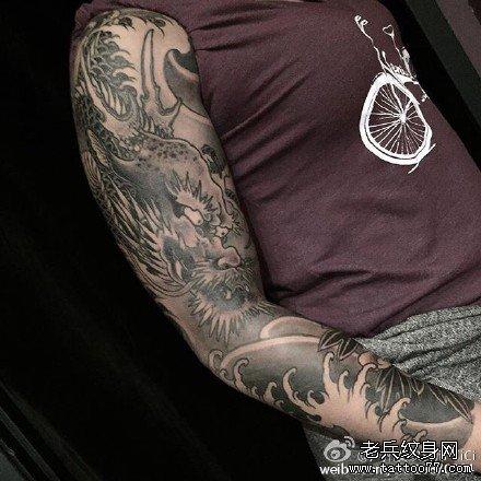 后背麒麟纹身图案大全麒麟纹身男麒麟纹身手稿图