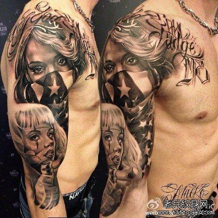 手臂女孩纹身图案