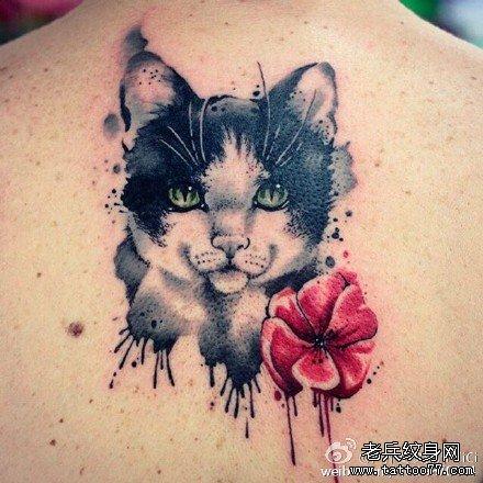 后背莲花梵文纹身图案