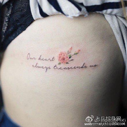 手臂彩英文字符纹身图案图片
