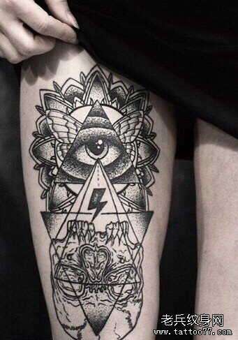 三角山水画纹身分享展示