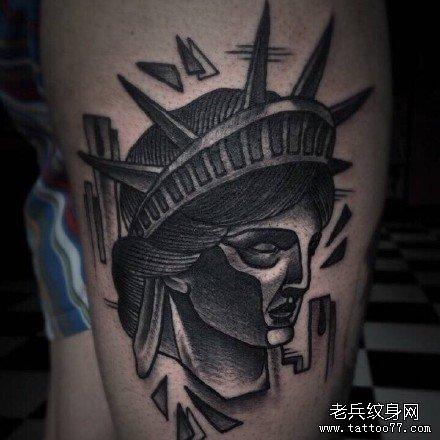 自由女神肖像纹身图案