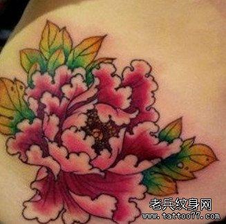 后背粉牡丹花纹身图案