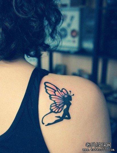 后背小精灵纹身图案
