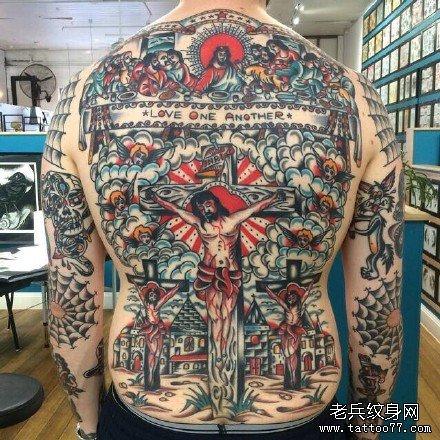 满背耶稣历史纹身图案