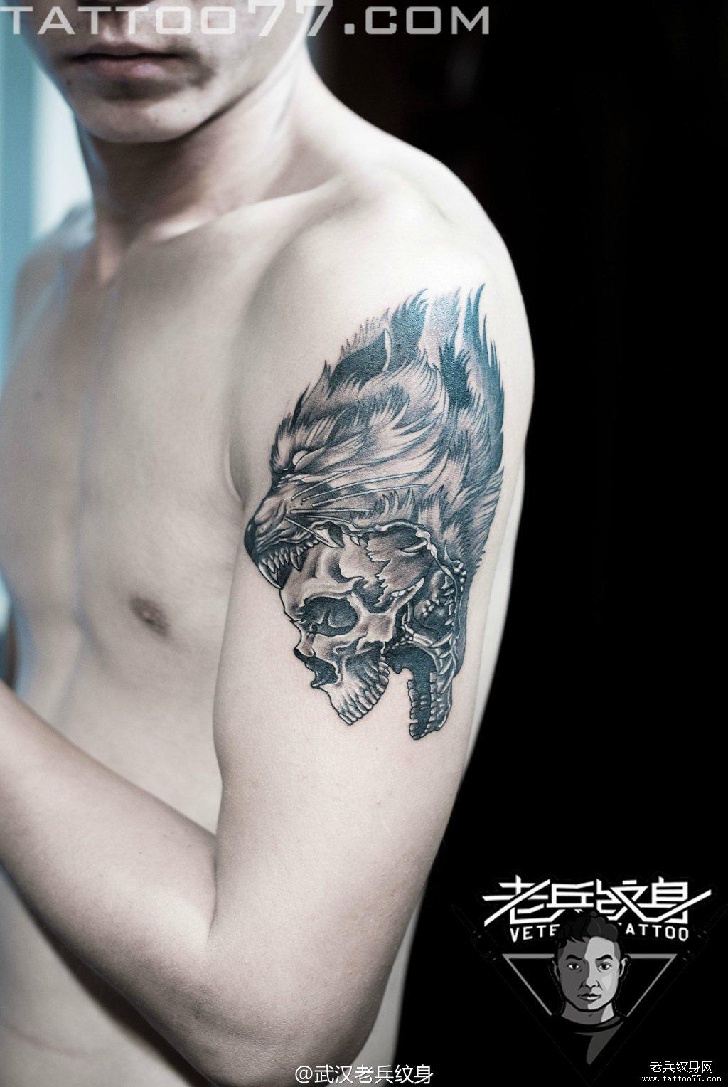 纹身图案大全          0 喜欢         浏览           大臂狼头骷髅
