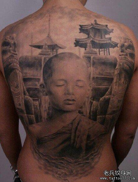 满背小光头肖像纹身图案