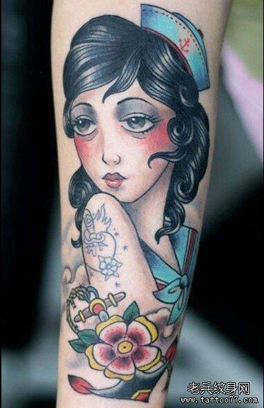 手臂女肖像纹身图案图片