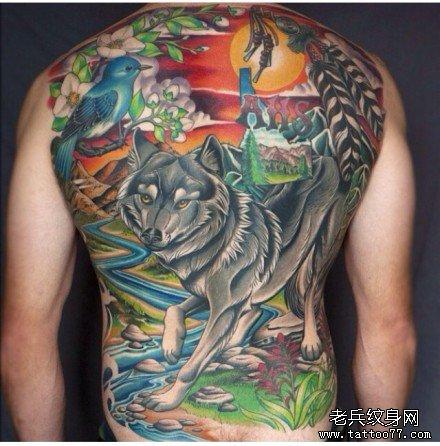 满背狼纹身图案图片