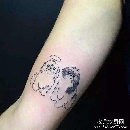 欧美可爱彩色小狗纹身图案