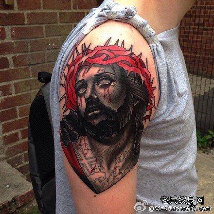 胳膊耶稣肖像纹身图案图片