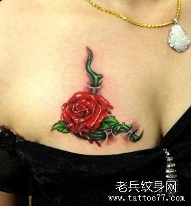 女人都爱的玫瑰花纹身图案