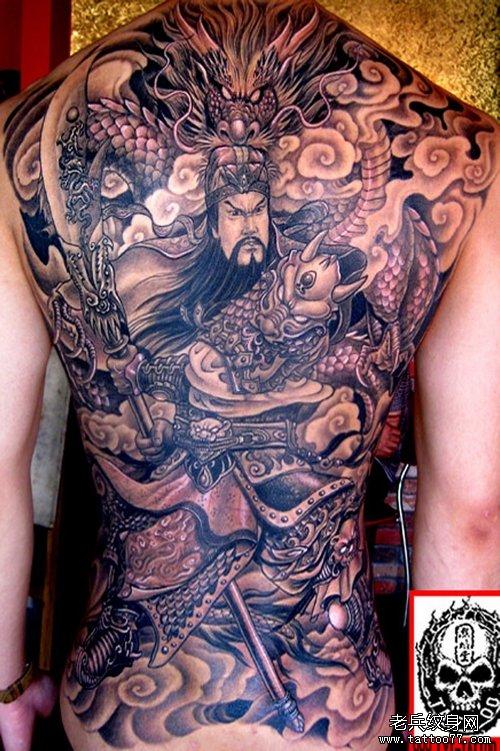 满背关公纹身图案