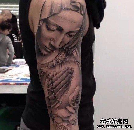 手臂圣母玛利亚纹身图案图片