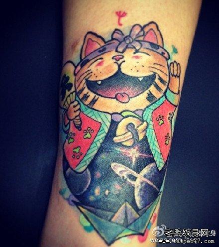卡通的招财猫纹身图案