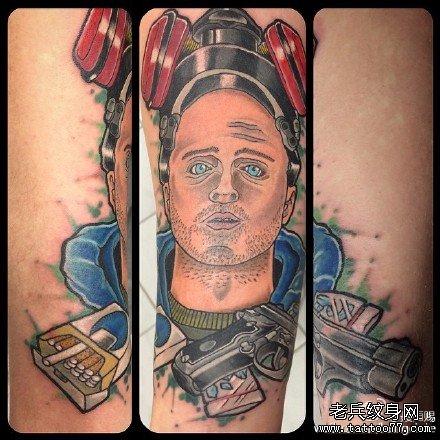 胳膊男肖像纹身图案