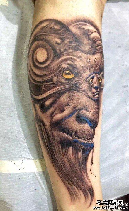 手臂恶羊肖像纹身图案图片