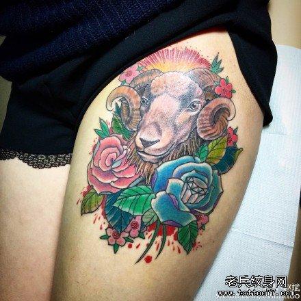 手臂羊骷髅纹身图案作品