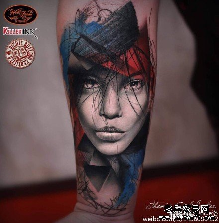 手臂女肖像纹身图案