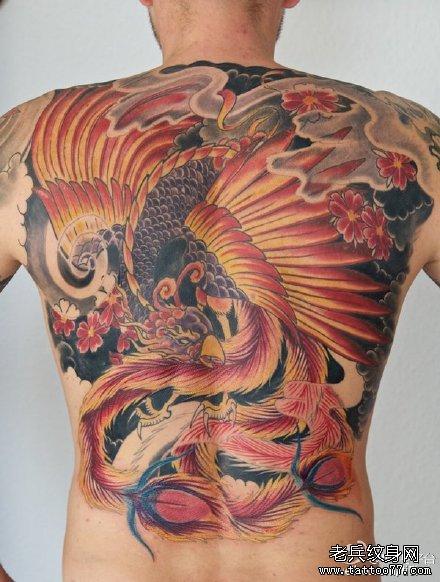美女腰部潮流很酷的彩色凤凰纹身图案图片