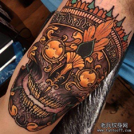 彩色嘎巴拉蛇纹身手稿图案