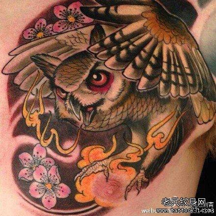 后背猫头鹰纹身图案