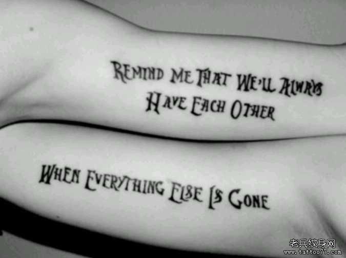 手臂情侣英文纹身图案