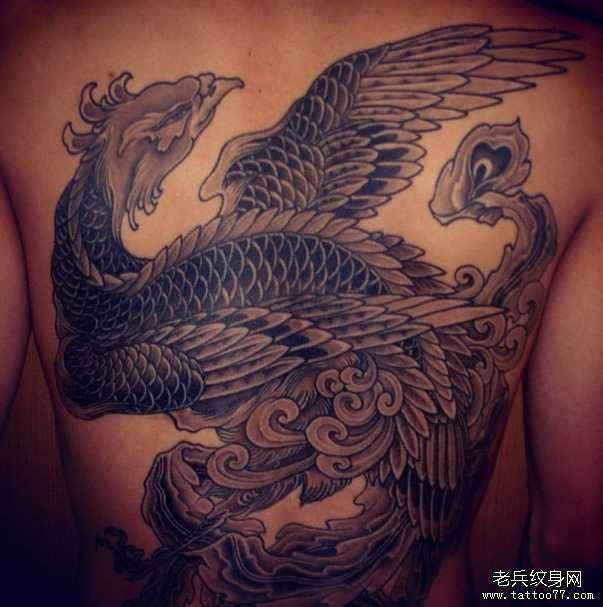 后背凤凰纹身图案