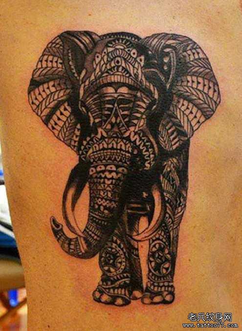 很美大象纹身图案