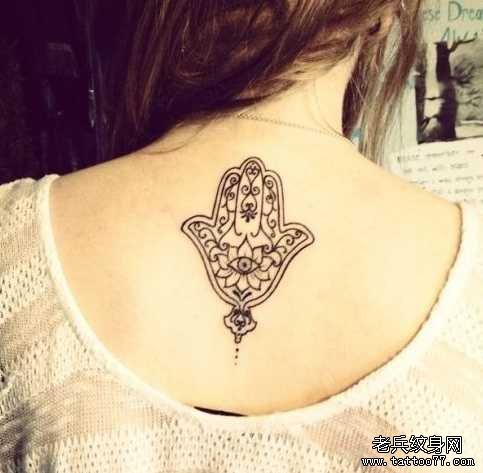 后背梵花纹身图案