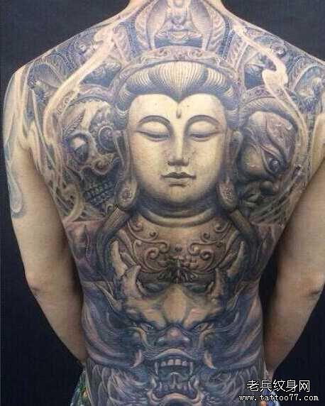 后背战佛纹身图案