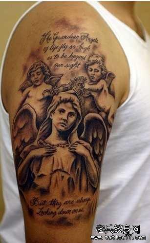 胳膊小天使英文字符纹身图案图片