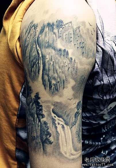 满背山水纹身图案大全展示