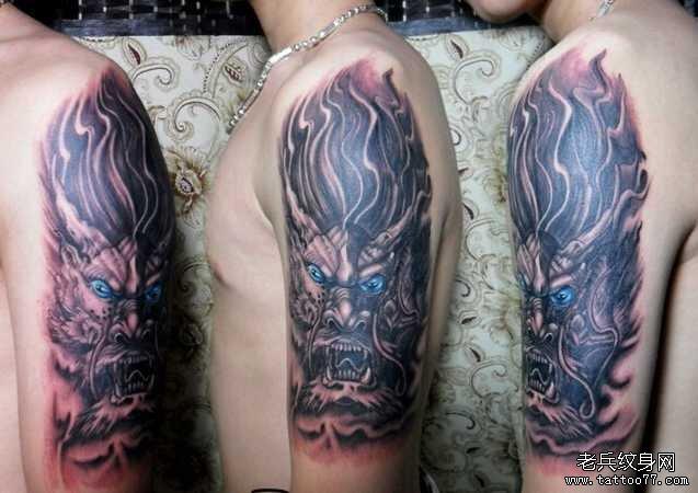 胳膊蓝龙纹身图案图片