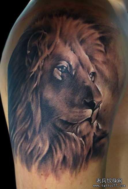 胳膊狮子头王纹身图案图片