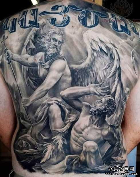后背天使纹身图案