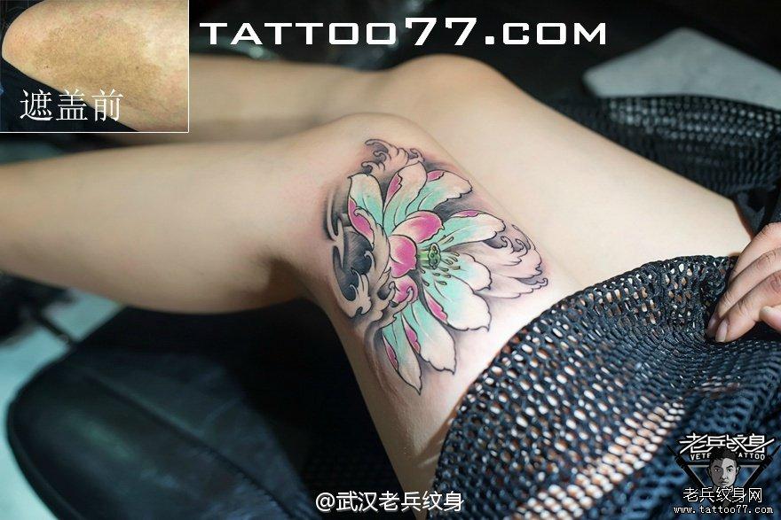 疤痕遮盖--手腕莲花佛珠纹身图案作品