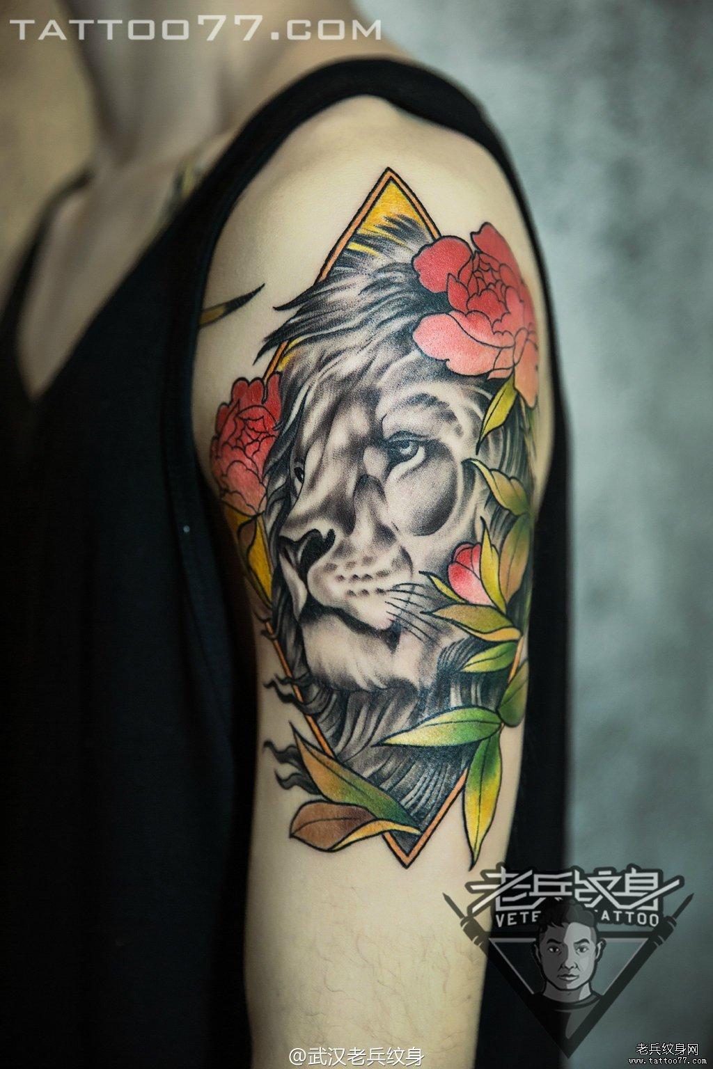 花臂半胛猴王观音刺青图案作品         后背狼刺青图案作品