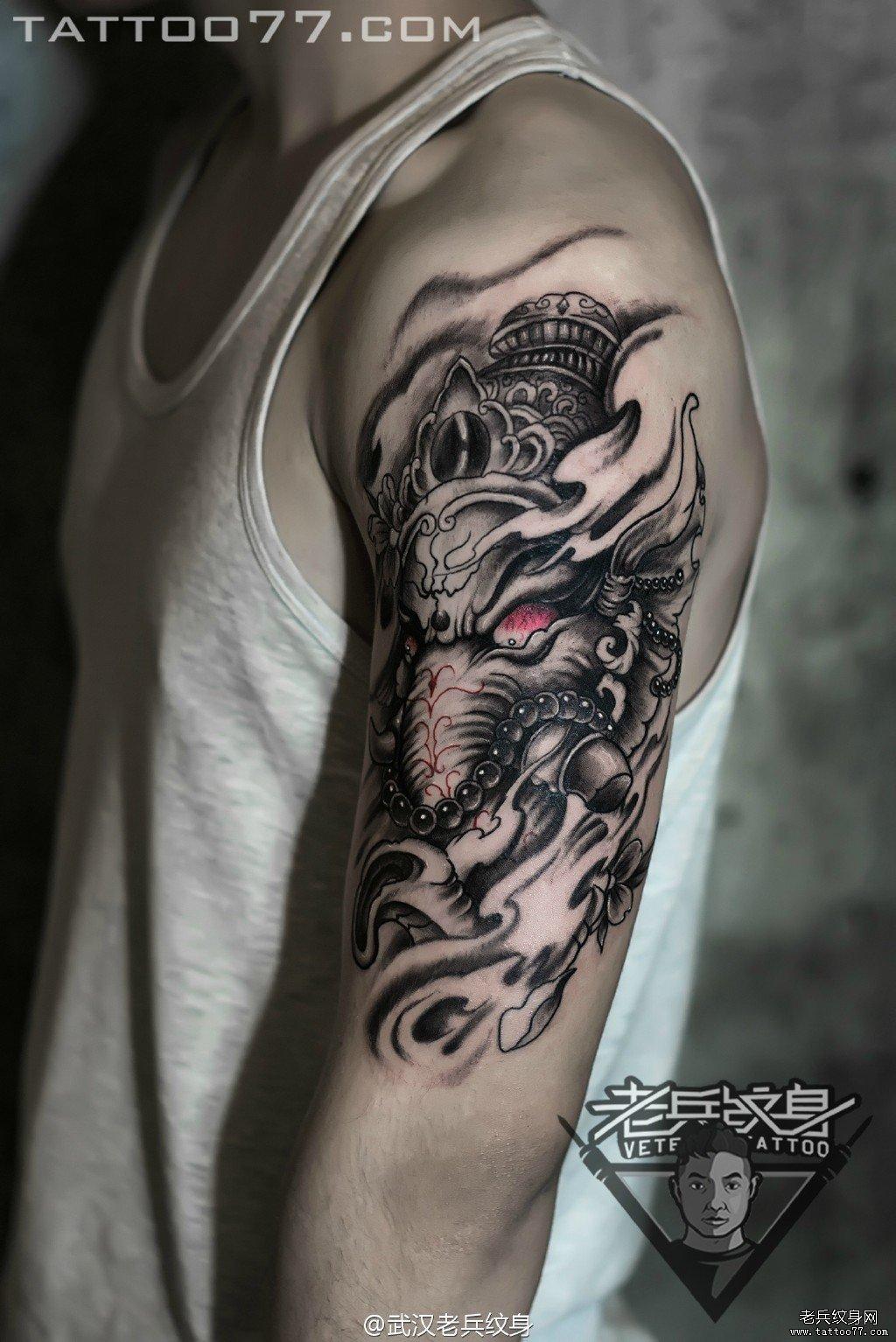 纹身图案大全          0 喜欢         浏览           上臂象神刺青