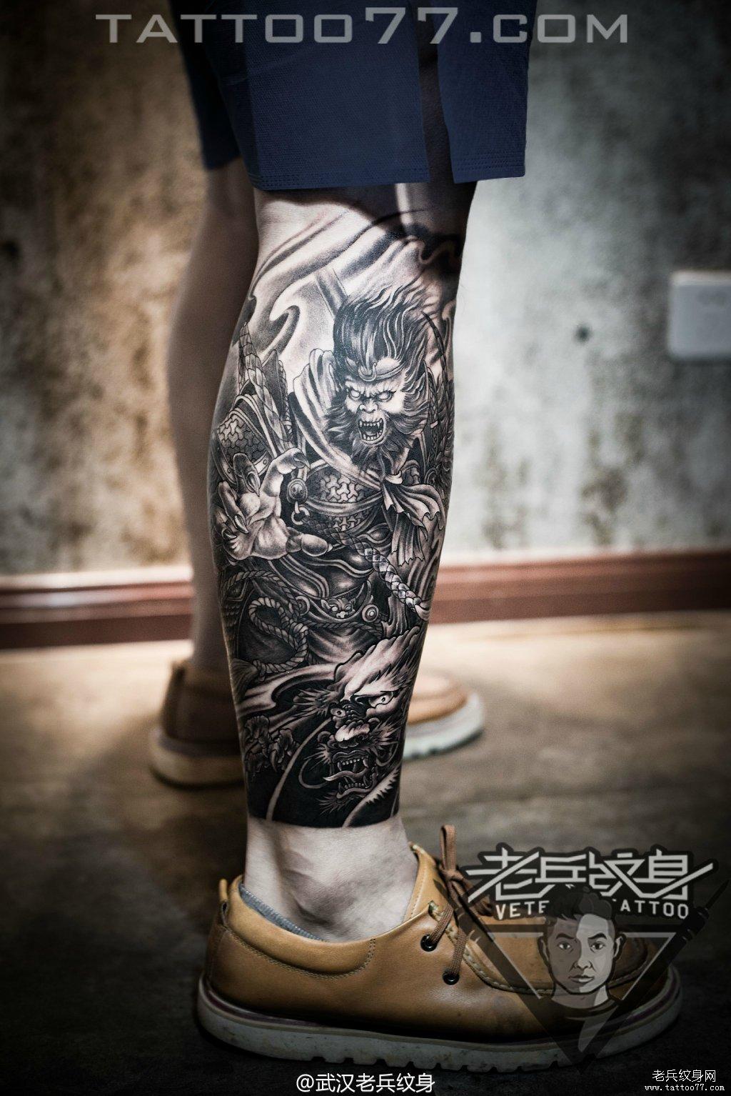 黑灰作品  武汉纹身店 纹身图案大全  0 喜欢   浏览  小腿孙悟空刺青