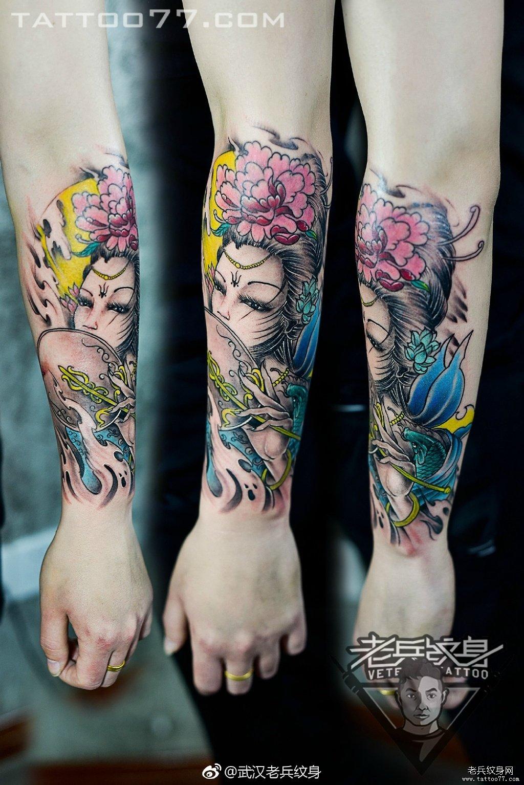 手臂彩色艺妓专业纹身店打造刺青作品