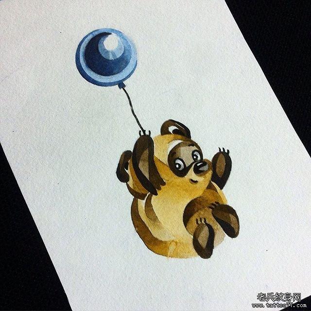 彩色小熊纹身图案