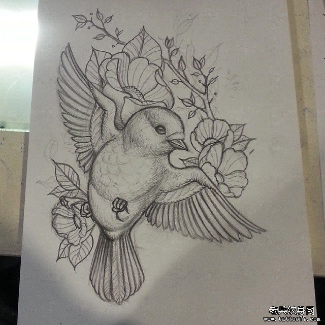 一款欧美线条小鸟纹身图片         一款时尚的小鸟纹身图案