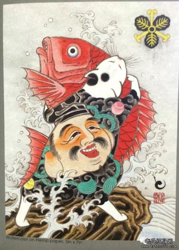 彩色日式脸谱纹身图案
