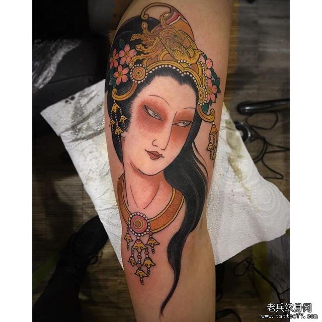 古风仕女纹身图案