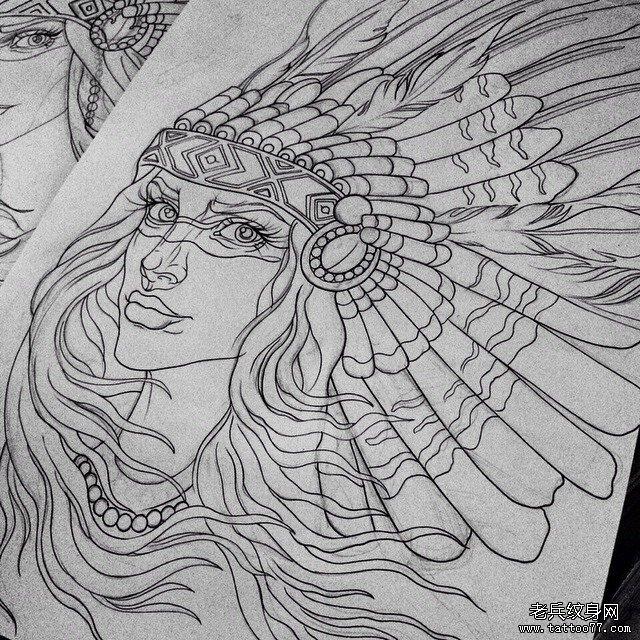 印第安女郎纹身图案图片